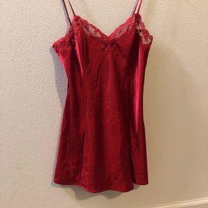 Red Victoria's Secret satin & lace slip size M